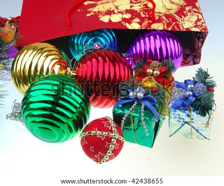 Christmas gift with white background - stock photo