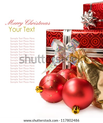 Christmas gifts and Christmas decorations on a white background