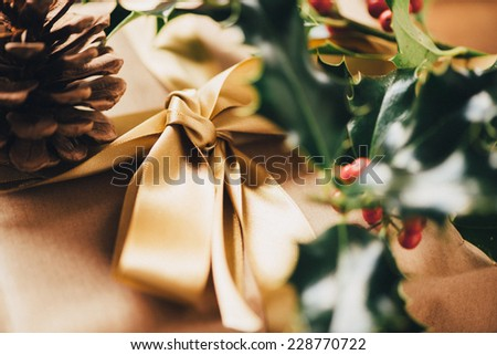Christmas Gifts and pine cones and holly  - stock photo