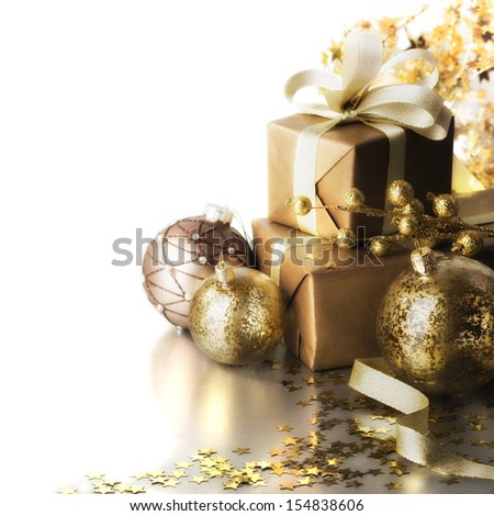 christmas gifts on white background