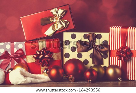 Christmas gifts. Photo in retro image color style. - stock photo