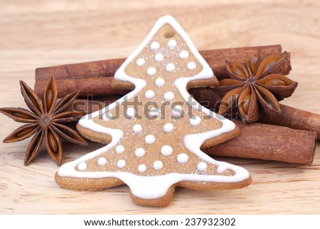 christmas gingerbread and spice - stock photo