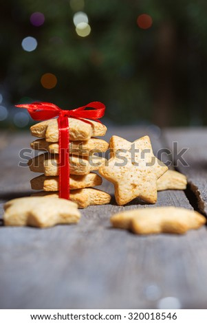 Christmas gingerbread at the wooden background - stock photo