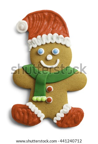 Christmas Gingerbread Cookie with Santa Hat and Scarf Isolated on White Background. - stock photo