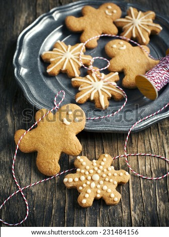 Christmas gingerbread cookies. - stock photo