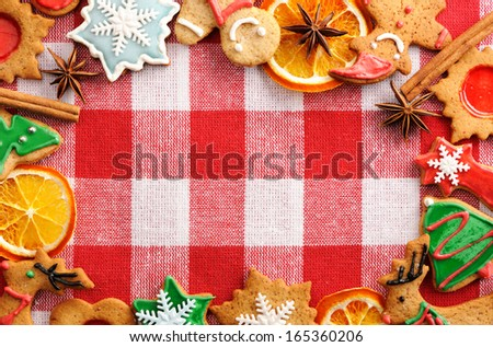 Christmas gingerbread cookies over tablecloth
