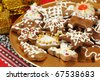 Christmas gingerbread cookies - Polish traditional Xmas sweets - stock photo