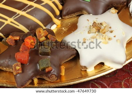 Christmas gingerbread cookies - Polish traditional Xmas sweets - stock photo