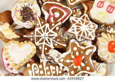 Christmas gingerbread cookies - Polish Xmas traditional sweets - stock photo
