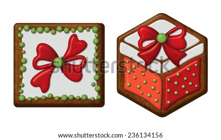 Christmas gingerbread cookies with colorful icing, gift boxes, wrapped presents, isolated illustration - stock photo