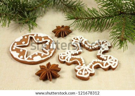 Christmas gingerbread decorated cookies - snowflake shape