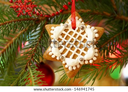 Christmas gingerbread decoration on a tree