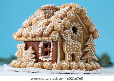 Christmas gingerbread house. Shallow dof - stock photo