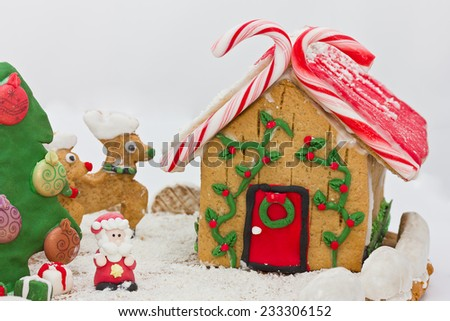 Christmas gingerbread landscape - stock photo