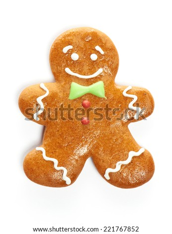 Christmas gingerbread man cookie isolated on white - stock photo