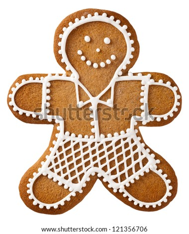 Christmas gingerbread man isolated on white background - stock photo