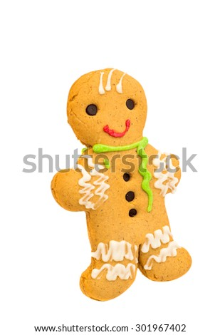 Christmas gingerbread man on a white background