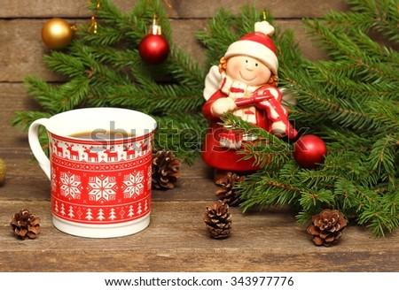 Christmas girl with a violin - stock photo