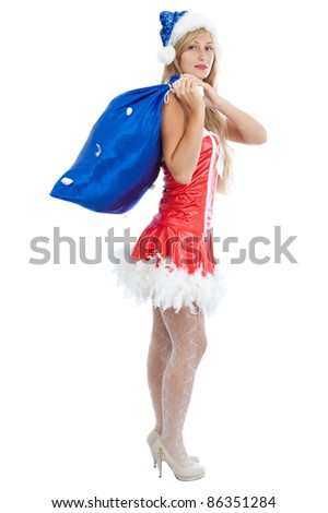 christmas girl with big present, isolated on white background