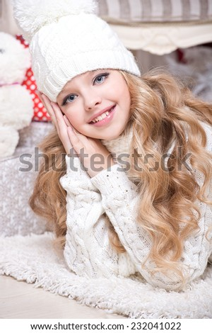 Christmas girl x-mas gift boxes new year, winter december, Smiling happy girl with giftbox at decorated firtree, christmas interior and new year decoration. series - stock photo