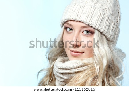 christmas girl, young beautiful smiling girl over blue background - stock photo