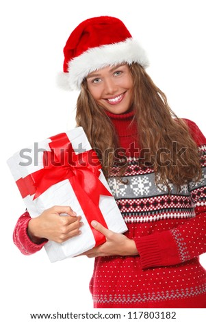 christmas girl, young beautiful smiling young woman in santa's hat over white background