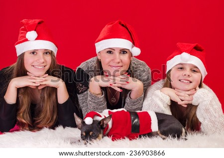 Christmas girls with cute dog