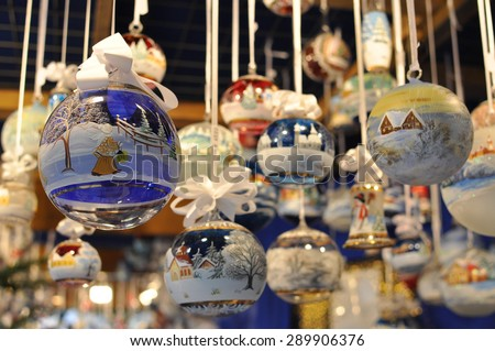 Christmas glass ball ornaments at a Christmas market in Innsbruck, Austria - stock photo
