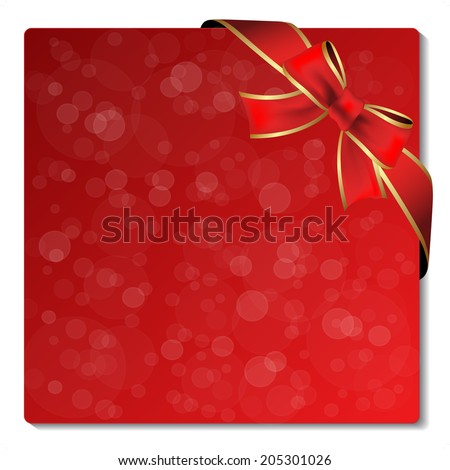 Christmas glitter label with ribbon - stock photo