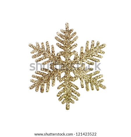 Christmas Glitter Snowflake isolated on white background.
