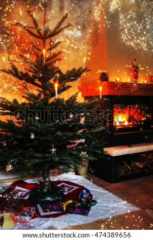 Christmas. Glowing fireplace, christmas tree and Decoration.