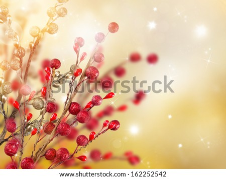 Christmas gold and red decoration