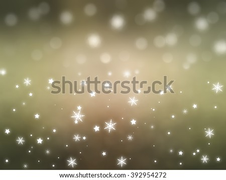 Christmas gold background with falling snowflakes.