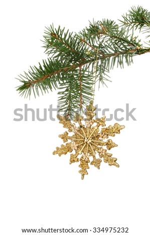 Christmas gold glitter star decoration hanging from a pine branch isolated against white - stock photo