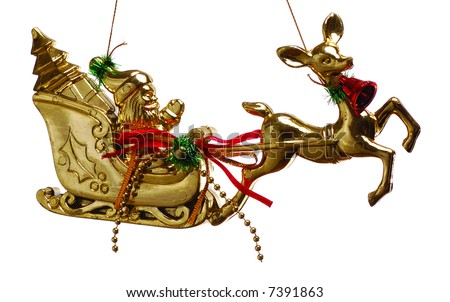 Christmas gold toy- baby deer and Santa Claus