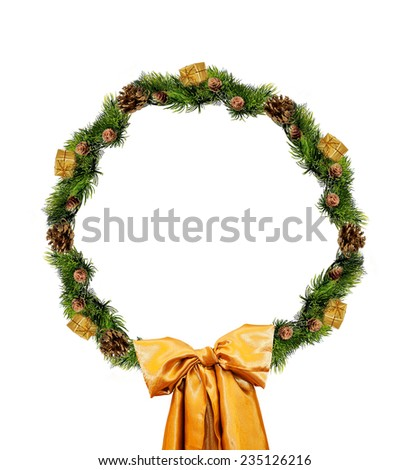 Christmas gold wreath isolated over white background. - stock photo