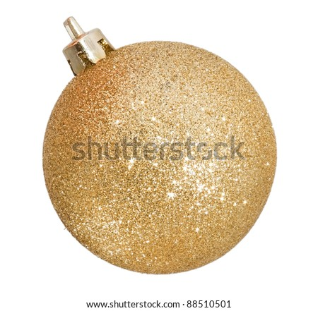 Christmas golden ball isolated on white - stock photo