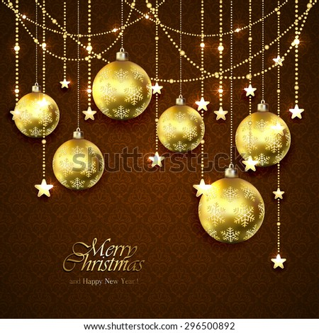 Christmas golden balls, stars and decorative elements on brown wallpaper, illustration. - stock photo