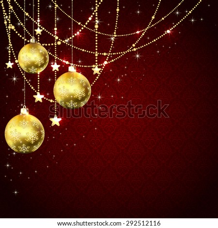 Christmas golden balls, stars and decorative elements on red wallpaper, illustration. - stock photo