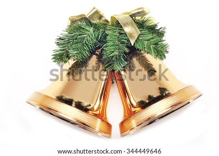Christmas Golden Bells isolated on white background - stock photo