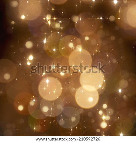 Christmas golden sparkle background with blured lights - stock photo