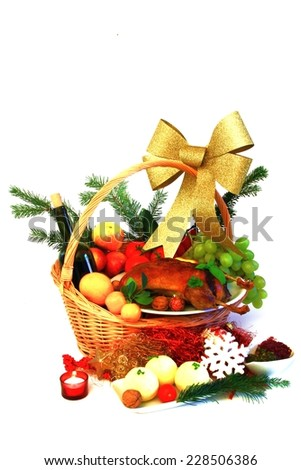Christmas Goose - nicely decorated in Basket  - stock photo