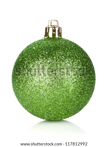 Christmas green bauble decoration. Isolated on white background - stock photo