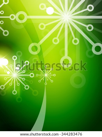 Christmas green color abstract background with white transparent snowflakes. Holiday winter template, New Year layout - stock photo