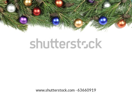 Christmas green frame isolated on white background