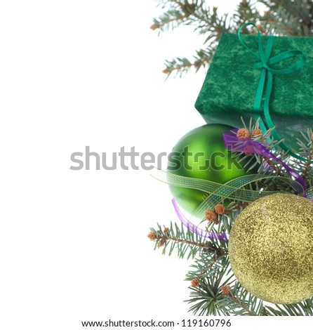 Christmas green gift with fir tree branch isolated on white background - stock photo