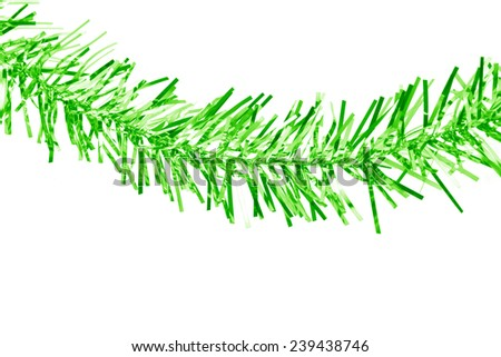 Christmas green tinsel. Isolated on a white background