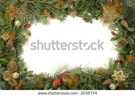 Christmas greenery and decorations - gold and red - stock photo