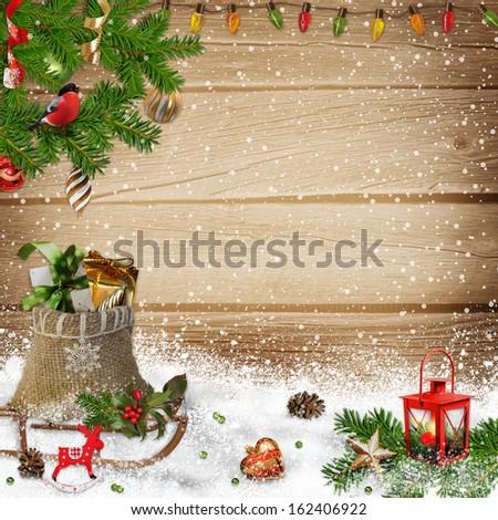 Christmas greeting background - stock photo