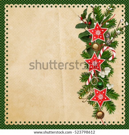 Christmas greeting background with pine branches, Christmas bells, garland of stars and berries branches